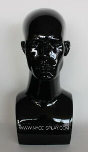 17 In Male Head Mannequin Bust Form Display Mannequin Glossy Black Finish Mh7gb