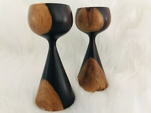 Exotic Cocobola Wood Hand Turned Wood Candlesticks Set Of 2 Mid Century Modern