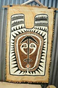 Papua New Guinea Painting Art Tapestry Cloth Hand Painted Vintage 48x28 Tribal