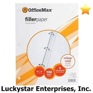 Officemax Filler Paper College Ruled 2400 Sheets Lot Of 24 100 count Packs