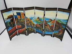 Chinese Wooden Lacquer Small Table Screen 6 Fold Double Sided Wall Of China Bxd