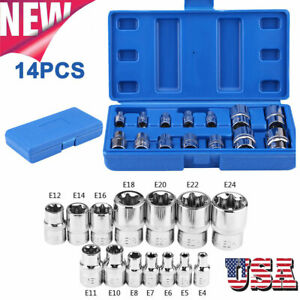 14pc E Type Torx Star Female Sockets Bit Kit E4 E24 Torx Socket 1 4 3 8 1 2