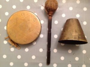 Antique Brass Bell 3 5x3 5x3 And Gong 5x1 Decoration