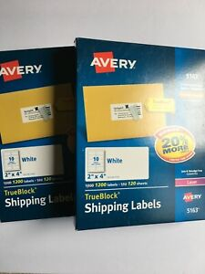 Avery 5163 Shipping Labels 2 X 4 White Laser 2400 Labels New