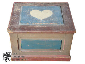 Early 20th Century American Painted Trunk Blanket Chest Box Primitive Folk Art