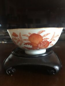 Antique Chinese Iron Orange Red Porcelain Bowl Qianlong Mark 19th C