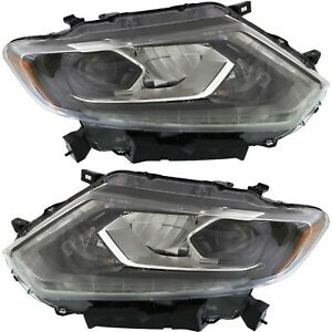 Headlight Set For 2014 2015 2016 Nissan Rogue Left And Right Led With Bulb 2pc