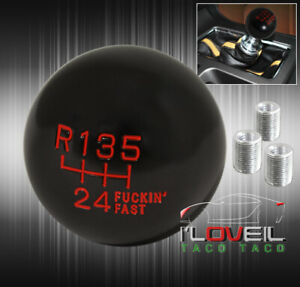 For Honda Acura M10 6 Speed Round Ball Type Shift Knob Jdm Vip Manual Black Red
