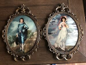Vintage Pair Pinkie Girl And Blue Boy Brass Frame With Convex Glass