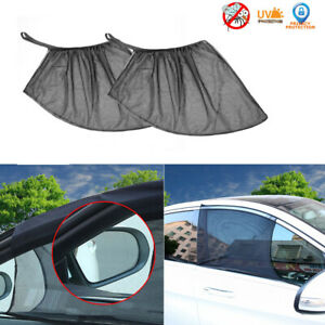 2pcs Auto Sun Shade Front Window Screen Cover Sunshade Protector For Car Black