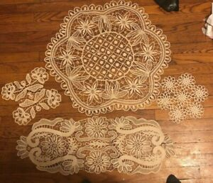 Antique Romania Handmade Lace Point Crochet Table Top Set Of 4