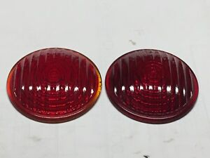 Vintageg Pair Truck Red Arrow 35d 3504 Vintage Turn Lens Light 2 15 16 2 3 4
