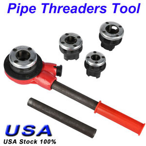 New Pipe Threader With 4 Stock Dies 1 2 3 4 1 1 1 1 4 Inch Ratchet Handle Us