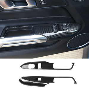Carbon Fiber Car Window Lift Switch Panel Cover Trims For Ford Mustang 2015 2019