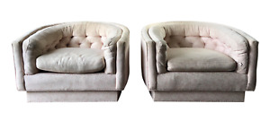 1970s Mid Century Milo Baughman Style Tufted Barrel Chairs A Pair