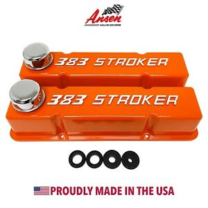 Small Block Chevy Sbc Tall 383 Stroker Raised Letter Valve Covers Orange