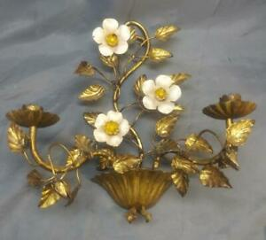 Old Vintage Italian Italy Wrought Iron Floral Candle Sconce Gold Gilt Tole Paint