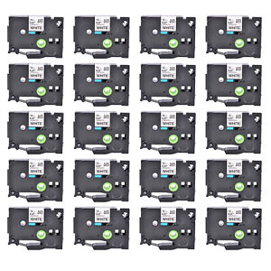 20pk Tze231 Black On White Label Tape For Brother P touch Pt 1280 P700 1 2 12mm