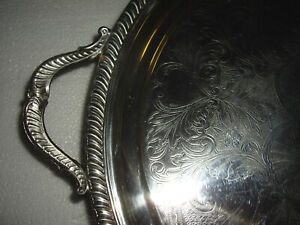 Vintage Silver Plate Footed Serving Tray 18 5 With Handles