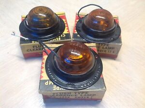 Do ray Lamp Clearance Light Set 3 Nib No 1240 12v Vintage Truck Bus Glass Lens