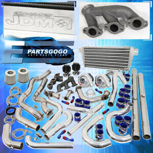 94 97 Mustang V6 3 8 Turbo Kit Blue Black Intercooler Downpipe Piping Wastegate