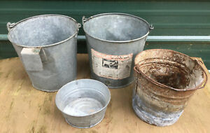 4 Galvanized Buckets Pail Milk Vintage Nipple Calf Nursing Metal Hanging