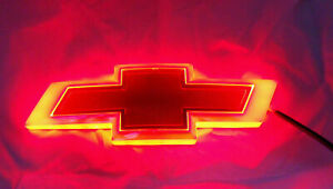 New For Chevrolet Backlit Gold Red Led Bowtie Badge Emblem Lamp Free Ship