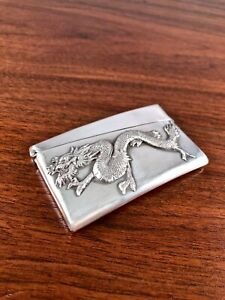 Detailed Cj Co Chinese Export Sterling Silver Card Case W Figural Dragon