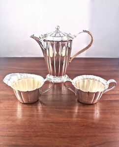 3 Piece Reed Barton Sterling Silver Fluted Tea Coffee Set 1932 No Mono 700g