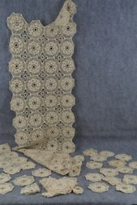 Antique Crochet Lace Doilies Runner Coaster Table Cloth Lot Project Repurpose