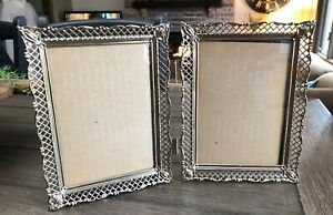 Vintage Mid Century 5 X 7 Gold Metal Filigree Ornate Double Picture Photo Frame