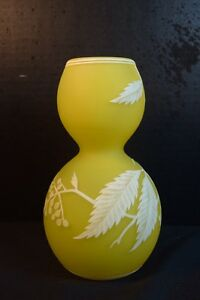 Fine Vintage Webb Cameo Glass Vase In Yellow White