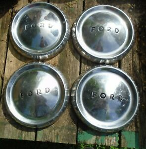 1960 63 Ford Falcon Econoline Van Ranchero Poverty Dog Dish Hubcaps Set Of 4