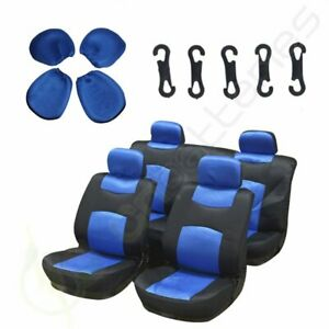 10pc Universal Blue Black Washable 4mm Padding Car Seat Covers W Headrest Covers