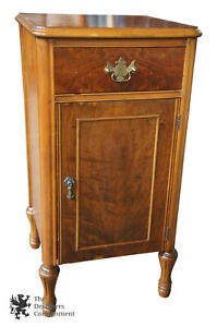 Art Deco Antique Crotch Walnut Nightstand 1930s Music Cabinet End Table