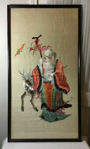 Old Chinese Silk Hand Embroidery Peach Longevity God Old Man W Deer Wood Frame