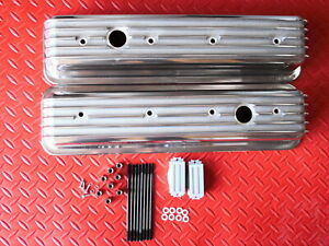 Aluminum Tall Finned Valve Covers 1987 Up Chevrolet 305 350 Center Bolt Baffled