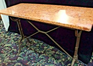 Antique French Pastry Table With Marble Top Cast Iron Base