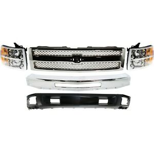 Bumper Kit For 2009 2013 Chevy Silverado 1500 Front With Halogen Headlight 5pc