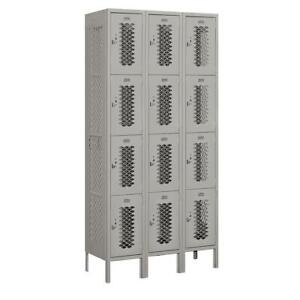 Vented Locker 12 Compartments Gym School Storage Metal Assembled Gray 36x78 In