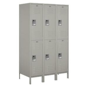 Metal Locker Storage Gym School 6 Compartments Double Tier Assembled Gray 54x78