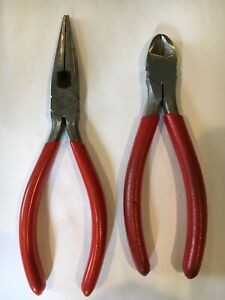 Snap On Tools Needle Nose Side Cutter Pliers 86bcp 196acp Red Handle Snapon
