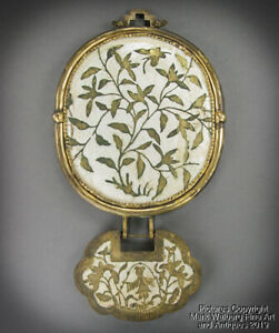 Chinese Gilt Copper Enamel Court Necklace Mirror With Baby Lock 19th Century