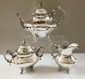 Sterling Silver Tea Service Set Reed Barton Georgian Rose 670