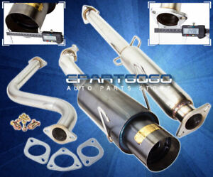 93 97 Del Sol Eg Eh Si 4 5 Tip Stainless Single Catback Exhaust System Gunmetal