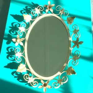 White Mid Century Vintage Wrought Iron Oval Mirror Daffodils Ivy
