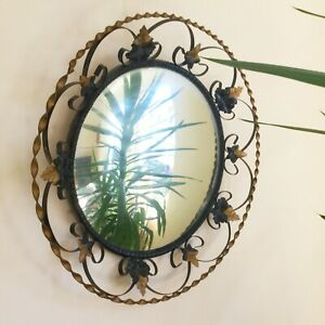 Large Vintage Twisted Wrought Iron Convex Witch Mirror Black Bronze Ivy 50 Cm