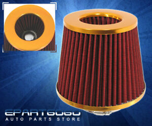 3 Washable High Performance Racing Short Ram Air Intake Filter Gold Red Acura