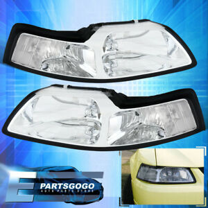 For 99 04 Ford Mustang Gt Chrome Housing Clear Lens Headlights Assembly Pair