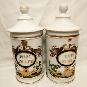 Pair Antique French Apothecary Jars